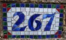 Mosaic house number.