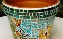 Glass mosaic flower pot.