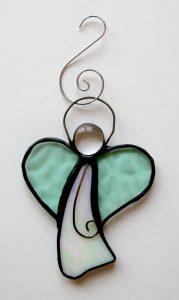 Stained glass Christmas tree angel decoration with pastel colours