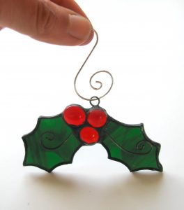 Small holly made of stained glass for Christmas tree