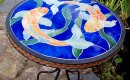 Golden orb fish mosaic bistro table - side view