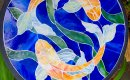 Golden orb fish mosaic bistro table