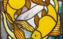 Yellow goldfish - painted stained glass