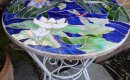 Mosaic table top - side view.