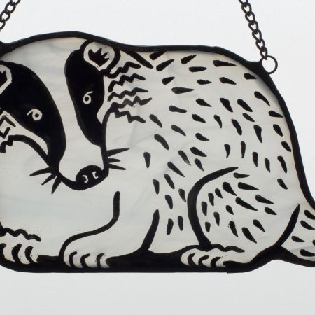 Stained glass badger sun catcher