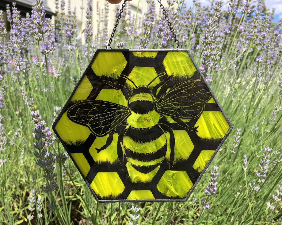 Stained glass honey bee suncatcher