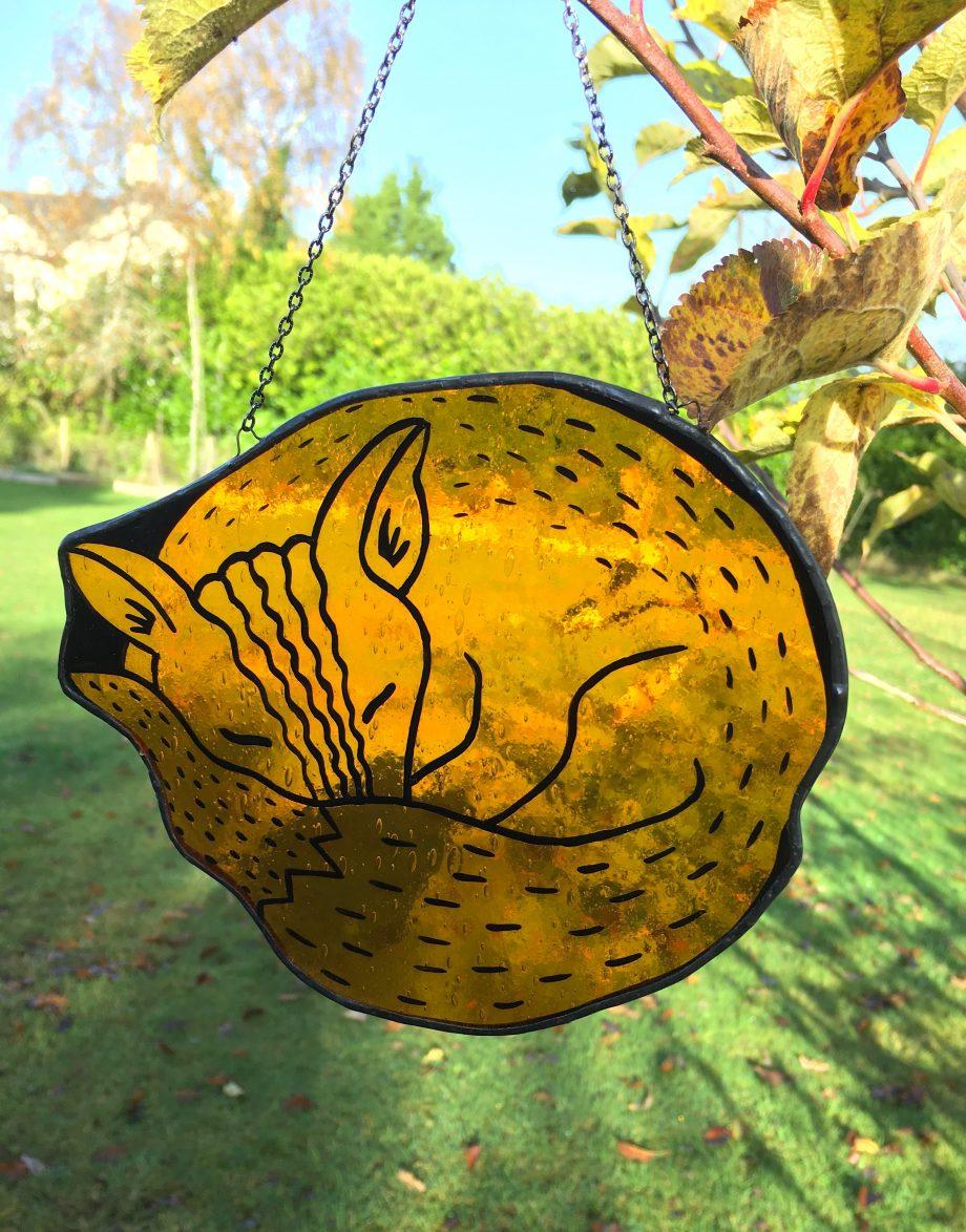 Stained glass sleeping fox sun catcher