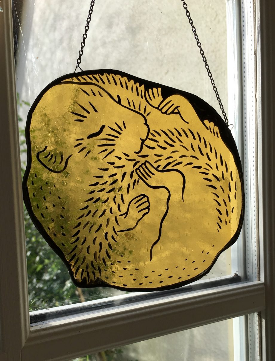 Stained glass harvest mouse sun catcher