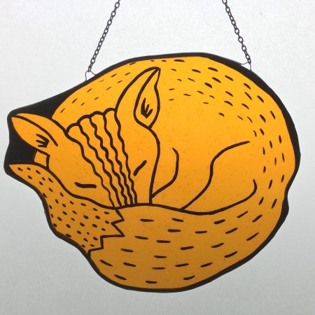 Stained glass sleeping fox sun catcher
