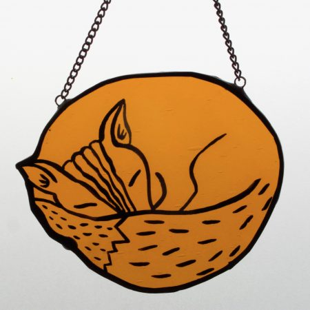 Stained glass sleeping fox with chain