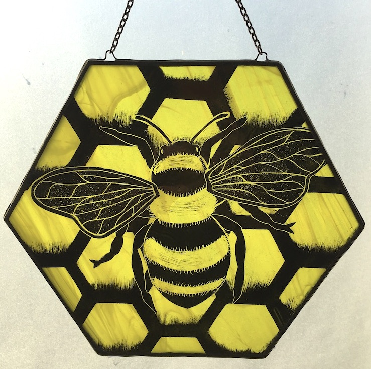 Stained glass honeybee