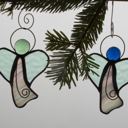 4 Christmas stained glass angels