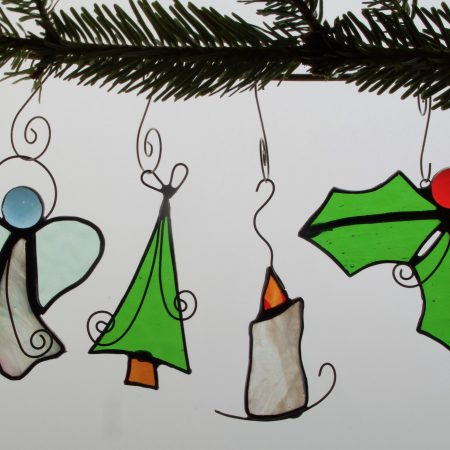 Set of 4 stained glass Christmas decorations