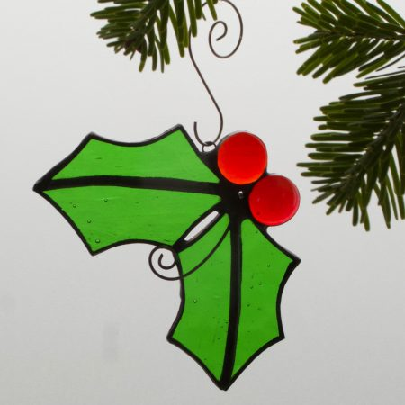 Stained glass Christmas holly