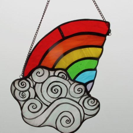 Rainbow and cloud stained glass sun catcher