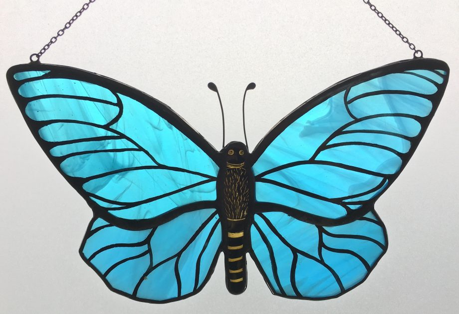 Butterfly blue stained glass sun catcher