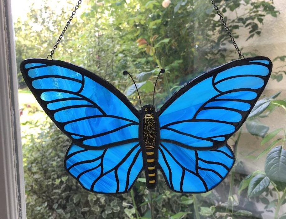 Stained glass blue butterfly sun catcher