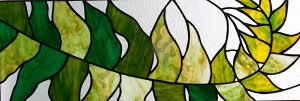 Fern stained glass transom