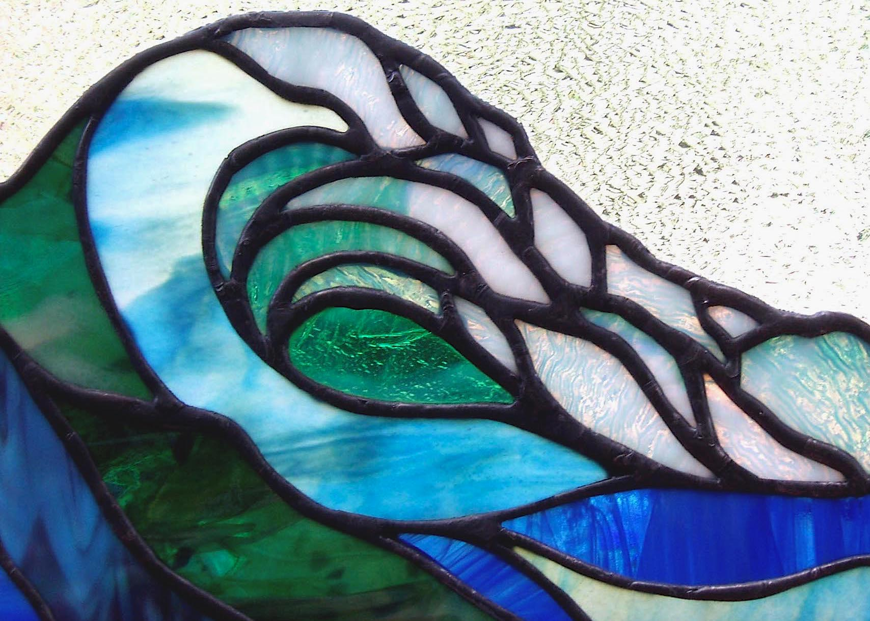 Ocean wave stained glass sun catcher