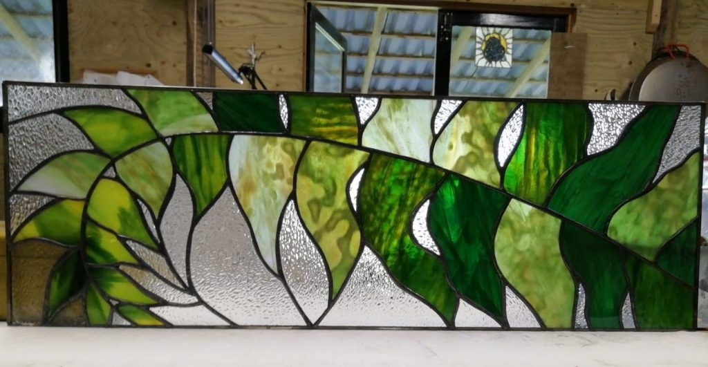 Stained glass fern transom piece