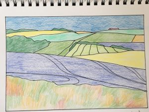 Drawing of Lambourn valley landscape