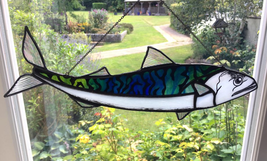 Stained glass mackerel sun catcher