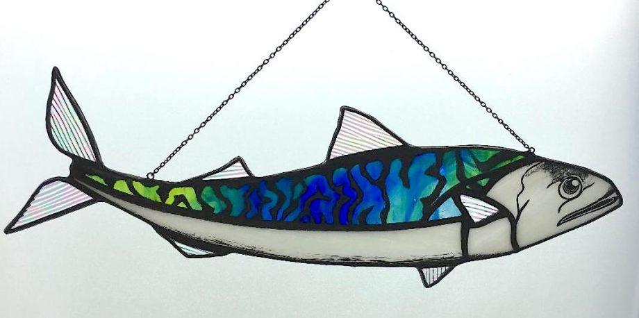 Mackerel stained glass sun catcher