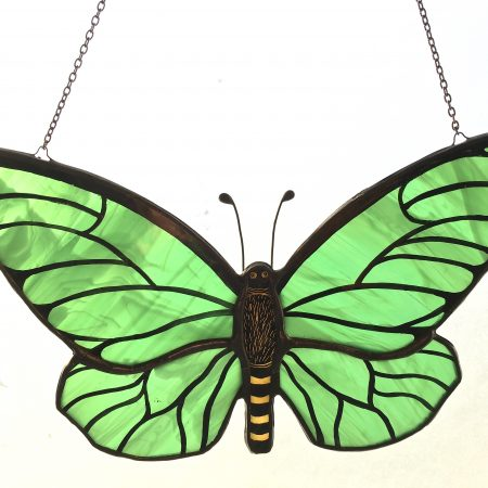 Green stained glass butterfly sun catcher