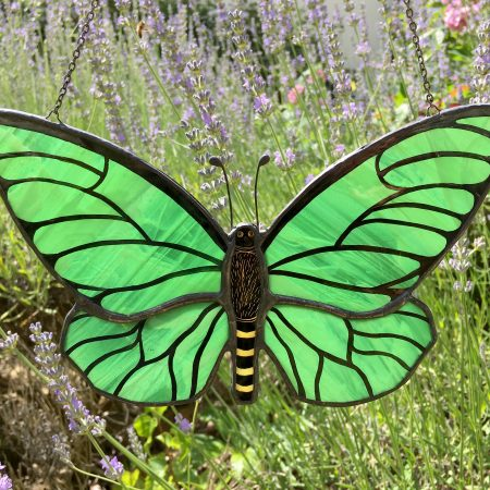 Green stained glass butterfly