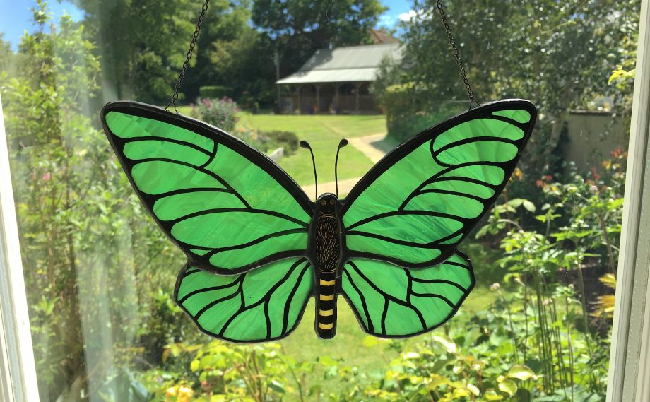 Green stained glass butterfly sun catcher in window