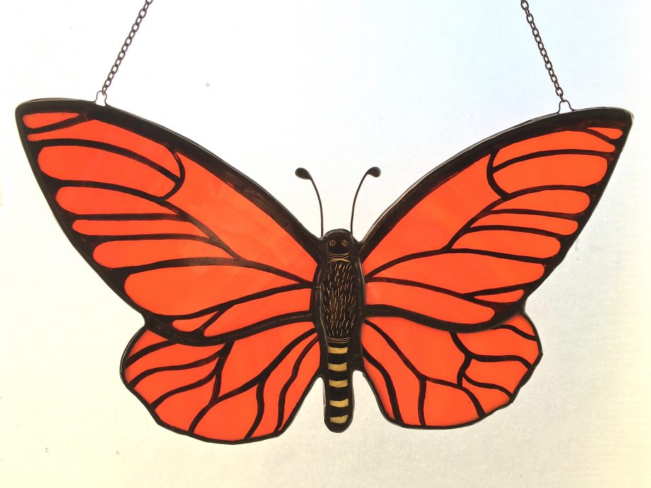 Orange stained glass butterfly sun catcher