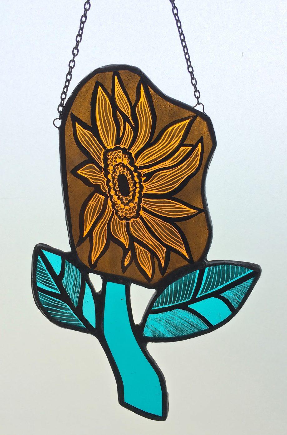 Orange stained glass sunflower