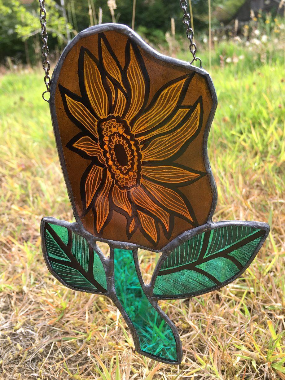 Orange stained glass sun catcher