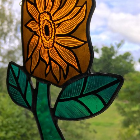 Orange stained glass sunflower suncatchder