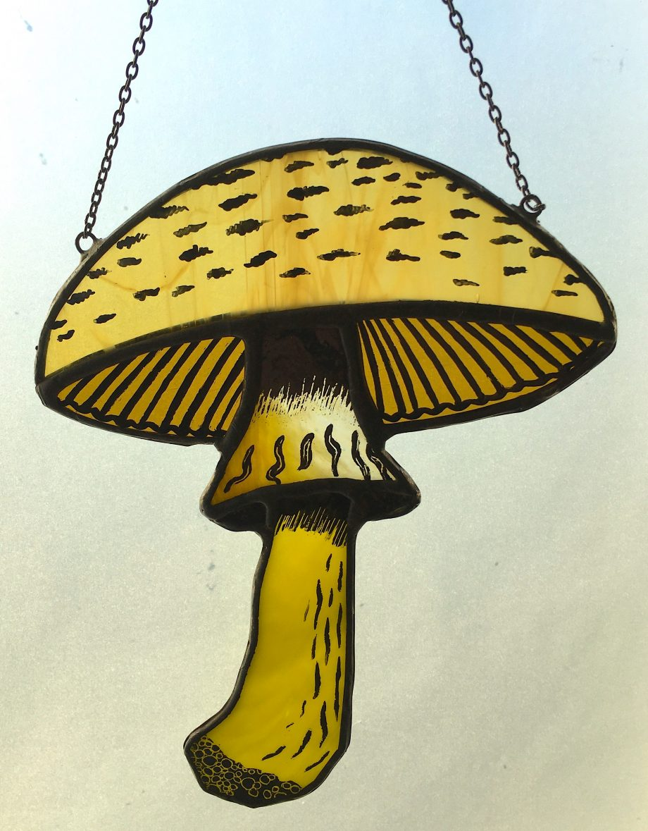 Stained glass mushroom sun catcher