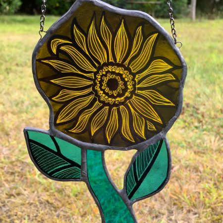 Yellow stained glass sunflower sun catcher