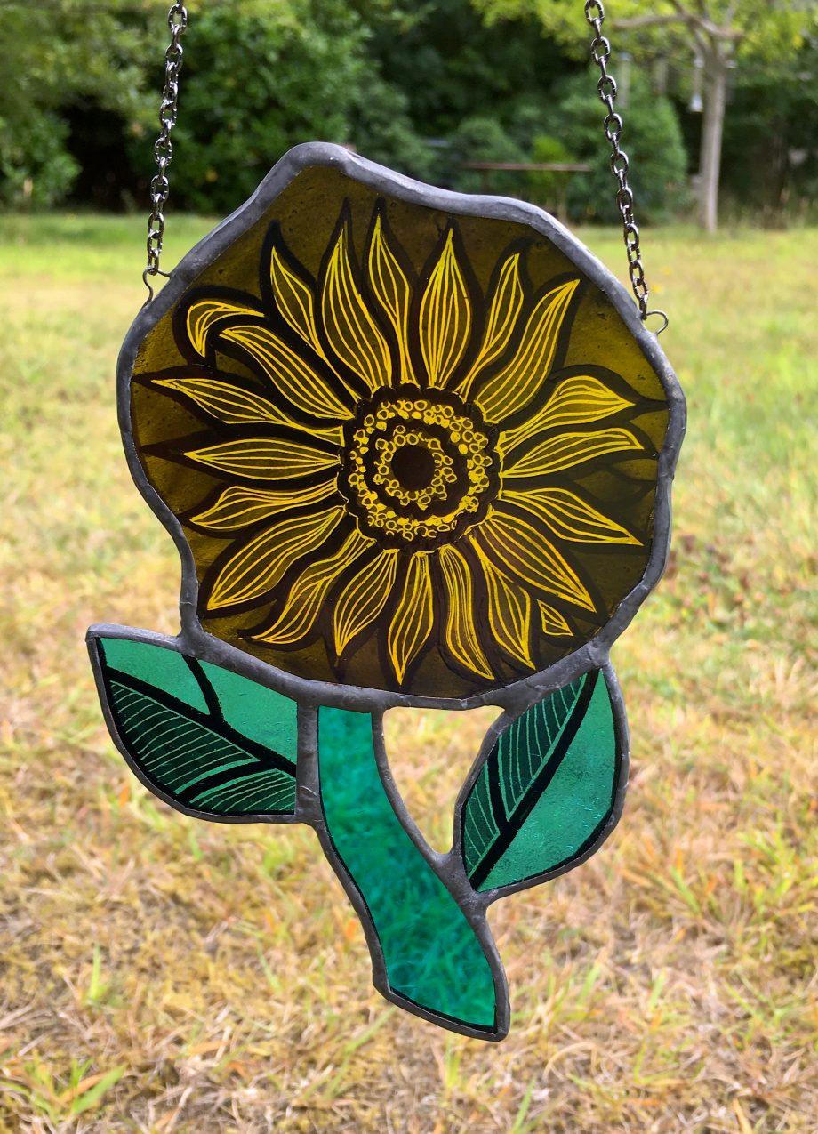 Yellow stained glass sunflower sun catcher