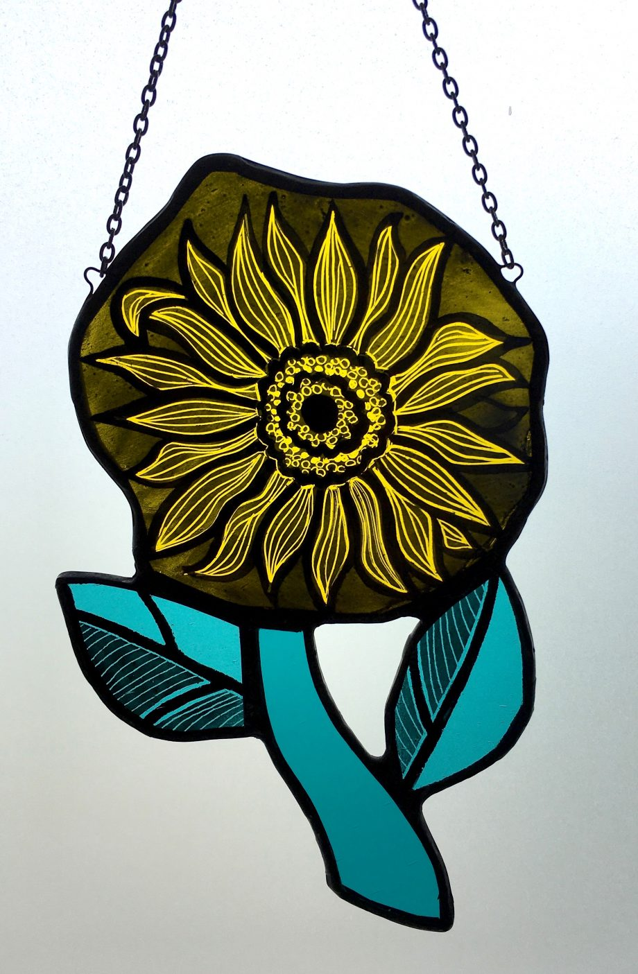 Yellow stained glass sunflower