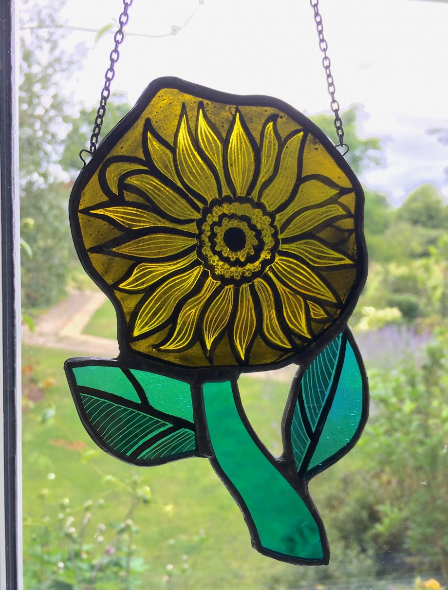 Yellow stained glass sun catcher