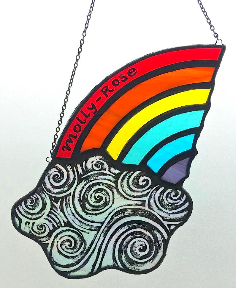 Molly-Rose rainbow and cloud stained glass sun catcher