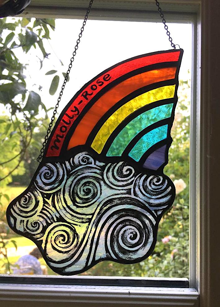 Molly-Rose stained glass rainbow and cloud sun catcher