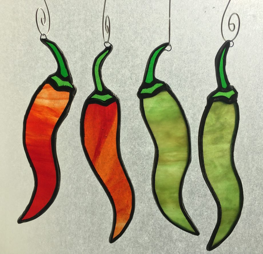 Set of 4 red and green stained glass chilli peppers