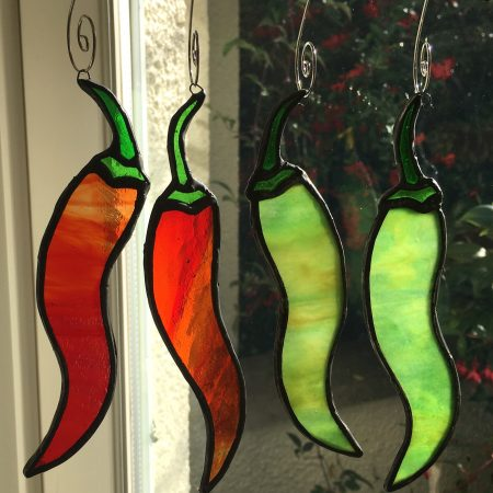 Set of 4 red & green stained glass chilli peppers