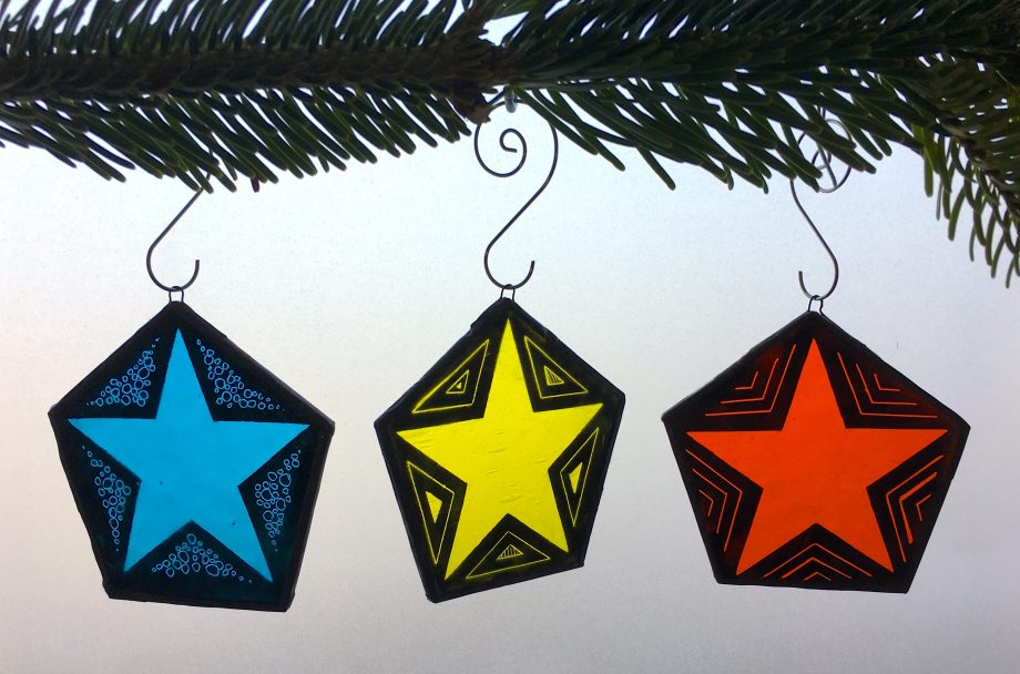 Set of 3 stained glass Christmas star tree decorations