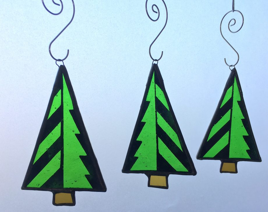 Set of 3 stained glass Christmas tree decoration