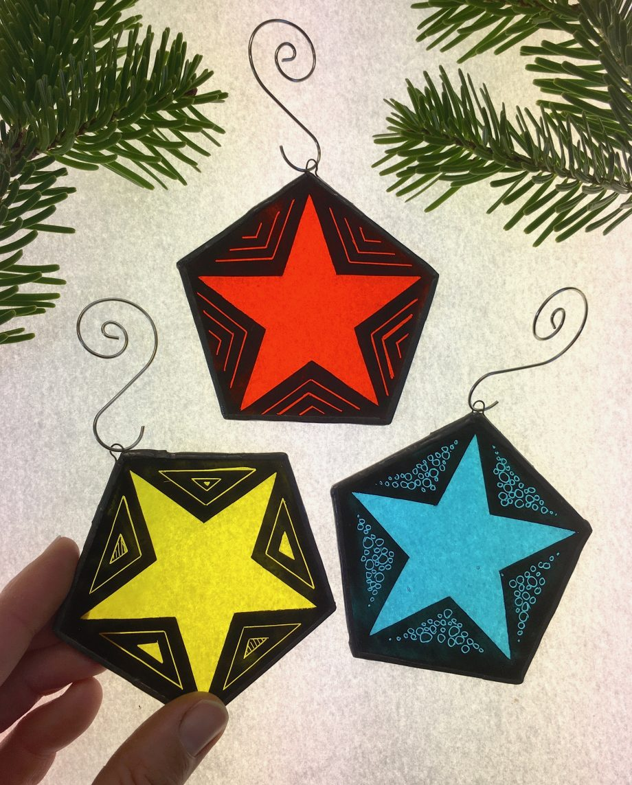 Set of 3 stained glass Christmas star tree decorations. Yellow, blue, orange