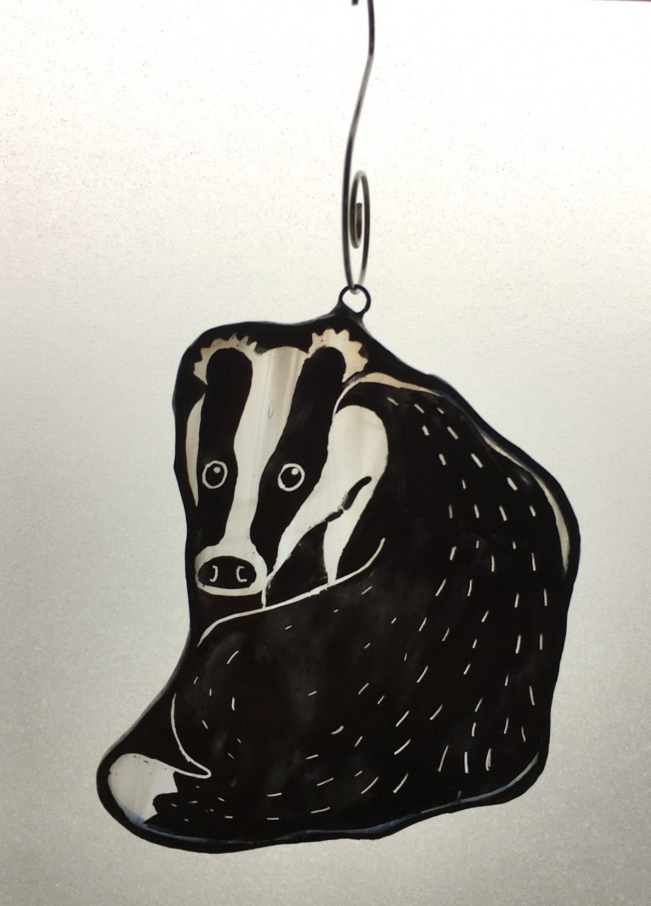 Badger stained glass Christmas tree decoration