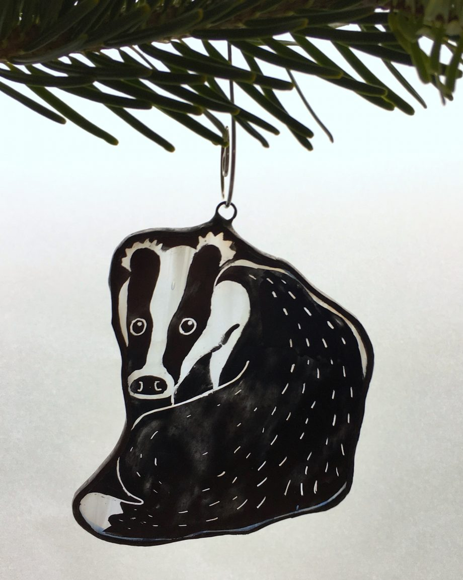 Stained glass badger Christmas tree decoration