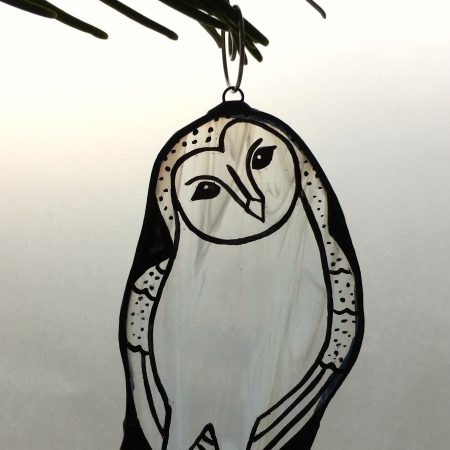 Barn owl stained glass Christmas tree decoration