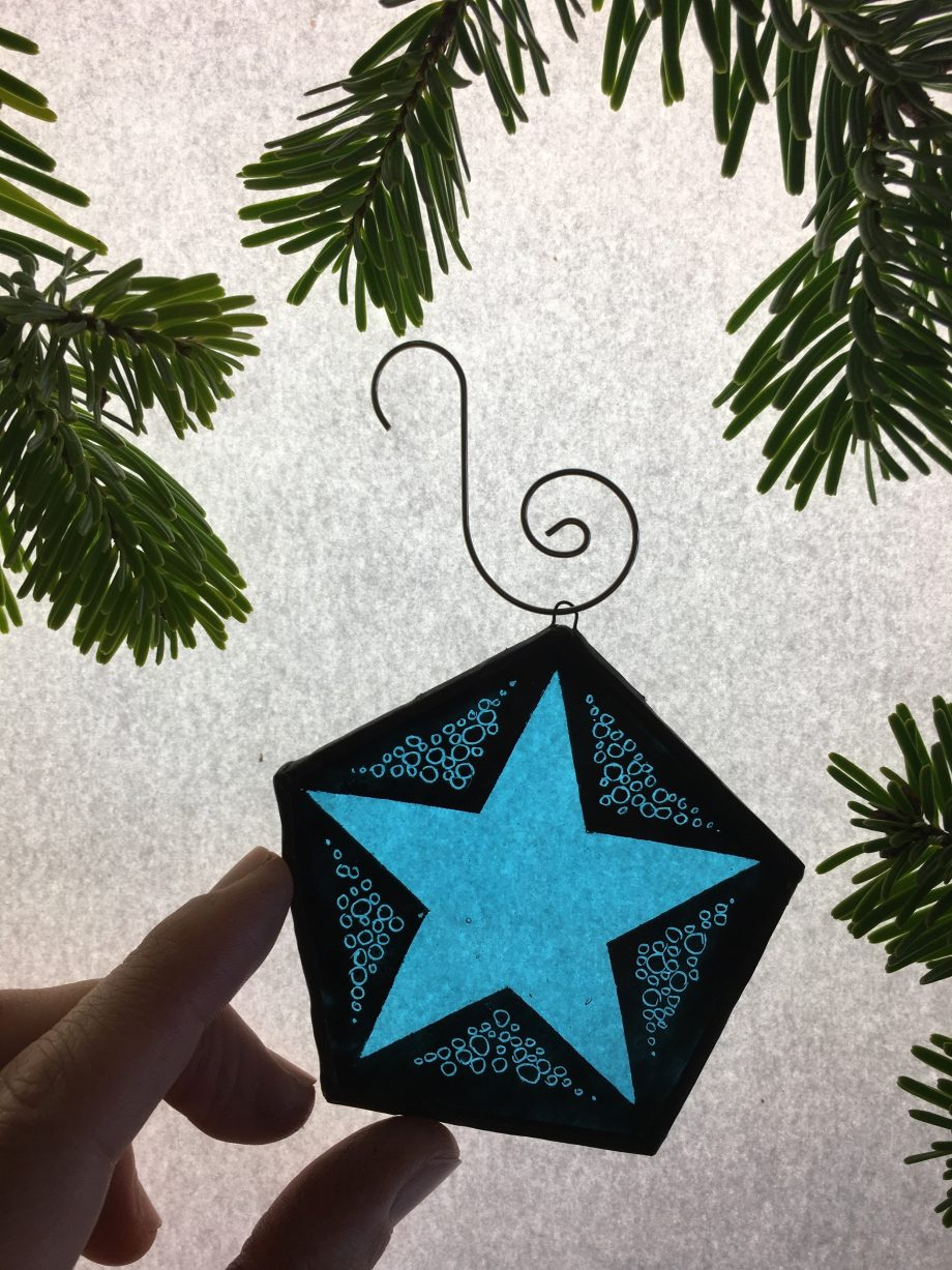 Blue star stained glass Christmas tree decoration